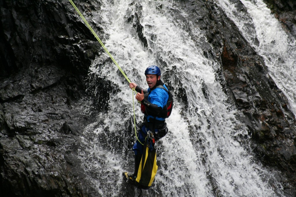 Canyon Guide on Ledge - Inchree Falls